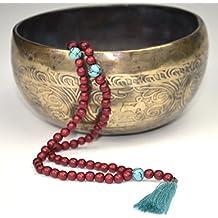 Mala con cuentas de turquesa y borla – Collar de meditación hecho de 108 cuentas de madera y piedras hermosas – de Ahimsa Glow®