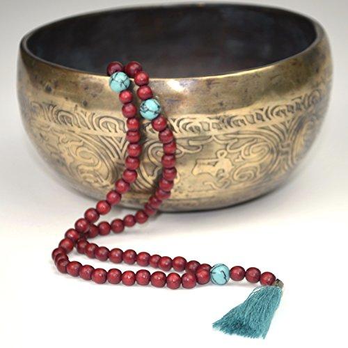 Mala-Kette mit Türkis-Perlen und Quaste –Gebetskette aus 108 rötlichen Holzperlen und Halbedelsteinen – von Ahimsa - Perlen Halskette Gebet Buddhismus