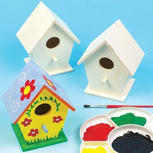 Baker Ross Mini casette per uccellini in legno per bambini (scatola da 4)