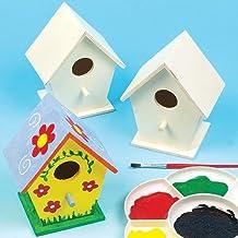 Casitas de madera para pájaros. Manualidades creativas para niños perfectas para pintar, decorar y personalizar (Pack de 4)