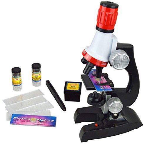Jzhen Kinder Mikroskop Scientific Mikroskop Spielzeug mit LED Beleuchtung,Mikroskopset für Kinder