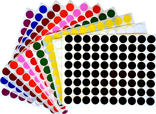 Royal Green Color Coding Labels 1/2 Round Dot Stickers, Black/White/Red/Green/Yellow/Pink/Purple/Orange/Brown/Blue, 880 Count by Royal Green