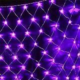 SUWIN 1.5X1.5M LED Lichterketten, 8 Modelle von Outdoor-Nettolichter, Garten-Baum Patio Dekoration (Lila, Farbe, kühles Weiß, warmes Weiß) Purple