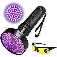 Super Brgiht - Linterna ultravioleta con luz negra, 100 LED, luz ultravioleta con gafas extra, detector multiusos para orina de perro, gato, animales pequeños, manchas para mascotas, bichos, escorpiones, inspección de fugas de maquinaria