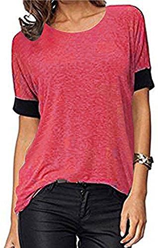 ELFIN Frauen Damen T-Shirt Rundhals Kurzarm Ladies Sommer Casual Oberteil Locker Bluse Tops - Weiches Material - Sehr Angenehm zu Tragen (SV6PO6JR) (Wir Kaffee Haben Zuerst)