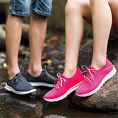 Atmungsaktives Laufschuhe Strandschuhe Mesh Lace-Up Belüftung Outdoor Wandern Sommerschuhe Damen Herren Paar Pink