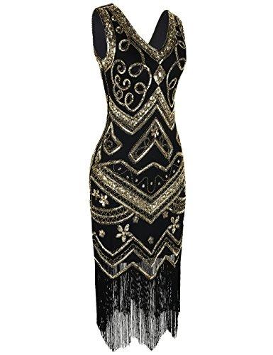 PrettyGuide Damen Flapper Kleid 1920er Gatsby Perlen Pailetten Cocktailkleid S Gold - 2