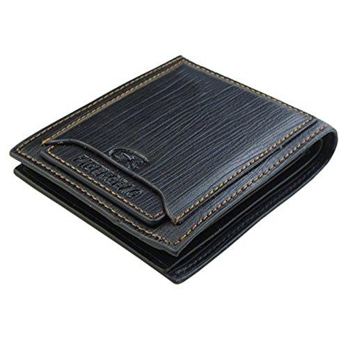 Taschen Kredit ID Karten Männer Cowboy Klassische Leder Geldbeutel Wallet Portemonnaie Herren Schwarz