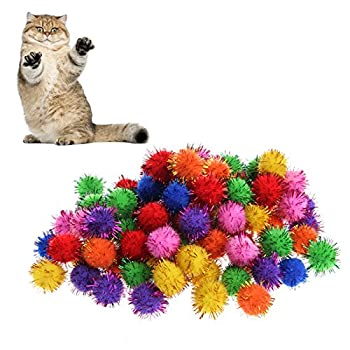 ECMQS Lot de 100 Multicolores Mini Paillette Glitter Tinsel Balls Kleine Pom Ball Jouet pour Chat