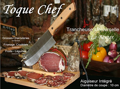 Allesschneider für Linkshänder Guillotine Wurstschneidebrett Kochmütze Chef by Le Berger Schleifer Goldfäden Spezial Linke Hand