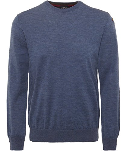 Paul and Shark Herren Schurwolle-Rundhals-Pullover Blau XL