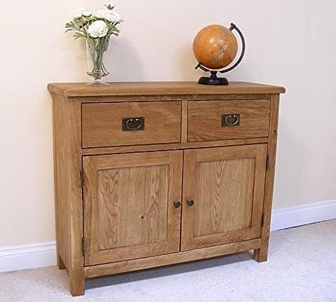 Lanner Oak Small Sideboard - Two Drawer Wood Cupboard - Oak Waxed Cabinet - Solid Sideboard