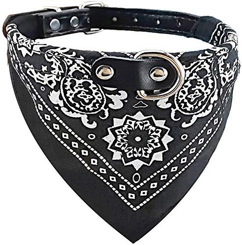 Ducomi Collar de Perro Ajustable con Pañuelo - Accesorio Divertido para su Perro y su Gato (XL, Black)