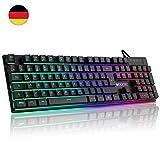 Luibor Gaming Tastatur,LED Hintergrundbeleuchtung Tastatur USB Kabel Verdrahtet Ergonomische RGB...