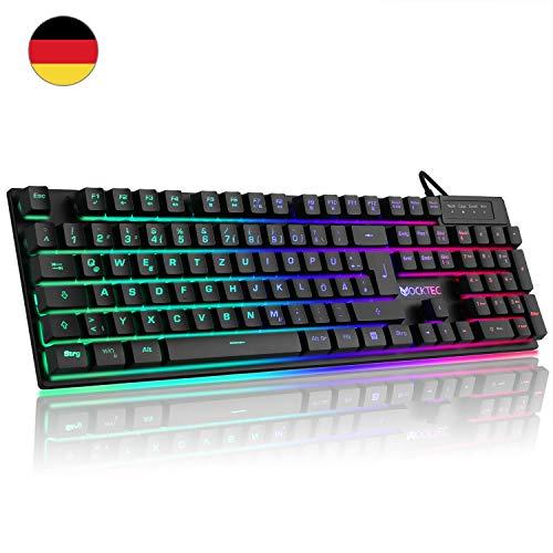 Luibor Gaming Tastatur,LED Hintergrundbeleuchtung Tastatur USB Kabel Verdrahtet Ergonomische RGB Tastatur Keyboard PC/Laptop, Ideal für Gaming und Büro (Schwarz) - Ergonomische Büro-computer