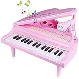 SGILE Spielzeug Keyboard mit Mikrofon, Kinder Klavier Piano Standkeyboard mit 31 Weiß/Schwarz Klaviertasten und 26 Funktionstasten, Tastatur Musikinstrument für Kleinkind und Kinder Geschenk Rosa