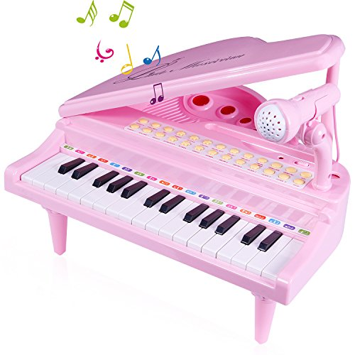 SGILE Piano Juguete con Micrófono para Niños Regalo, 31 Teclas Instrumento Educativo Juguete de Musical Mic, Cantando Desarrollo Musical, Enlace de Audio Móvil MP3 IPad PC