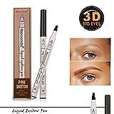 Natürlich Eyebrow Tattoo Pen Augenbrauen Farben Augenbrauenstift Wasserfest für Augen Makeup,Lange andauernd (#3 Dunkelgrau)