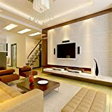 #6: Magideal 30*60cm White 3D Brick Wall Sticker Self-adhesive Panel Decal Wallpaper