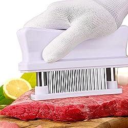 Attendrisseurs à viande avec 48 lames tranchantes en acier inoxydable, parfait pour assaisonner Steak Poulet Bœuf Poisson Porc,White
