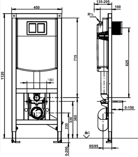 Sanit WC-Element Ineo Plus 450 mit Wandhalter Bauhöhe 1120 mm
