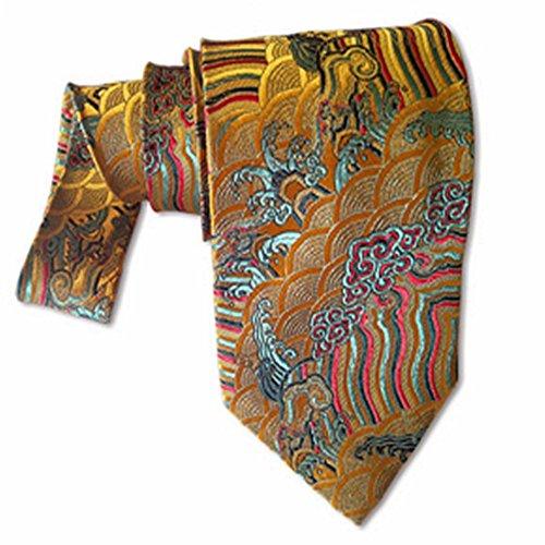 YAOSHI-Bow tie/tie Krawatten und Fliegen für Vintage China Stil Herren Seidenkrawatte Khaki Farbe Mulberry Seidenkrawatte Krawatten und Fliegen für Stil Bow Tie