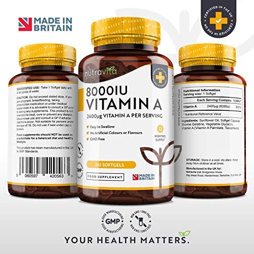 51baNSSeeoL - Vitamina A 8000 UI - Suministro para 1 año - 365 cápsulas blandas de la máxima potencia, fáciles de tragar - 2400μg de vitamina A en cada cápsula - Producto elaborado por Nutravita en el Reino Unido