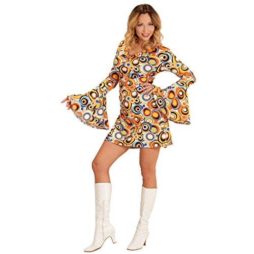 Amakando Flower Power Kleid - M (38/40) - Blumenkind Damenkostüm 60er Kleidung Schlagerstar Schlagermove Minikleid Peace Outfit Klamotten 70er Jahre Hippie Kostüm