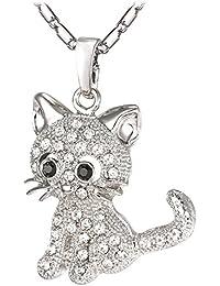 U7 Kristall Katze Kätzchen Anhänger Halskette 18K Gold plattiert Damen  Mädchen Schmuck Geschenk für… bbe0187638