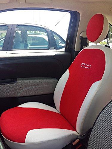 autoSHOP Fodera Set COPRISEDILE su' Misura Completa per Fiat 500 dal 2007 Posteriore Intero O Diviso (SPECIFICARE Via E-Mail) (Rosso/Bianco)