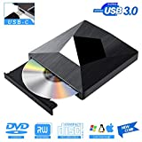 Lector CD DVD Externo USB 3.0 con Type C,PIAEK Lector Grabadora Unidad Reproductor de DVD CD Portátil CD-RW/DVD-RW CD RW Row Rewriter Burner para Macbook OS con Windows PC