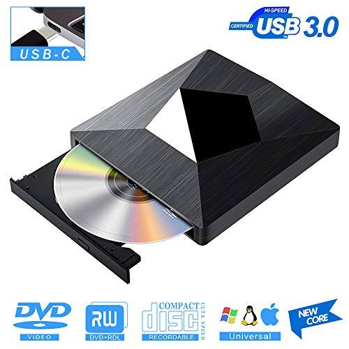 Externes CD DVD Laufwerk USB 3.0 - PIAEK Type C Portable Tragbar DVD/CD-RW Brenner Laufwerk Schreiber,Slim DVD CD Player für Desktop Computer Notebook,Ultrabook Windows/Mac OS,MacBook/iMac(Schwarz)