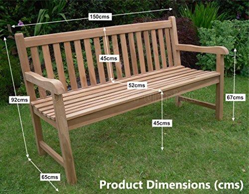 5ft 150cms Chunky Teak 3 Seat Garden Park Bench Java Garden Furniture For Your Patio