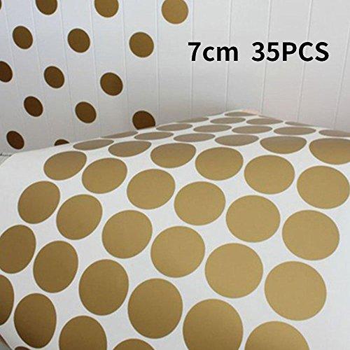 BigFamily Gold Polka Dots Wall Stickers Children Decal Vinyl Art Home Living Room Decor