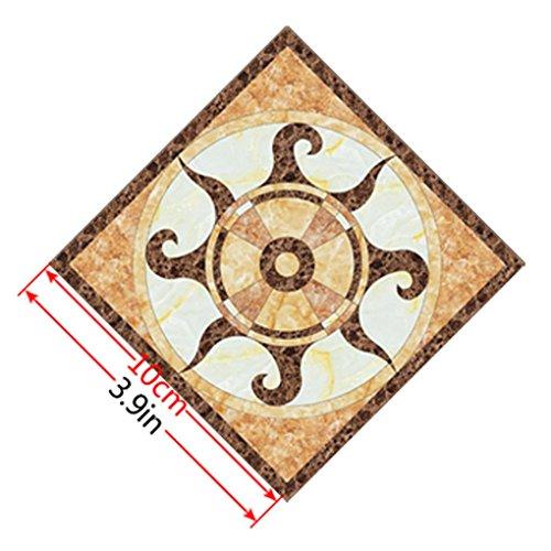 Masterein 10pcs Bunte Retro Blumen-Fußboden-Fliese Aufkleber Washroom Halle Tile Aufkleber wasserdichte Tapete Dekor DS-042 10cm*10cm