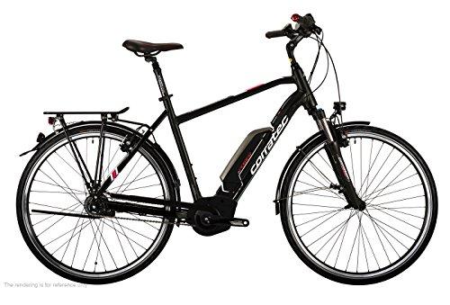 Corratec Herren E-Power 28 Urban Active 8s Coaster 400 Gent Fahrrad, Schwarz matt/Silber/Dunkel Rot, 51