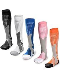 5 paires de Chaussettes de Compression Graduées pour hommes et femmes,  Augmentation de la performance c026f1a1232