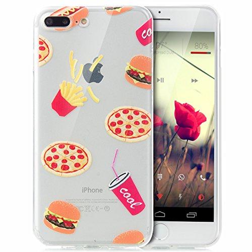 iPhone 8 Plus Hülle,iPhone 7 Plus Hülle,Schutzhülle iPhone 8 / iPhone 7 Plus Silikon Hülle,ikasus® TPU Silikon Schutzhülle Case Hülle für iPhone 8 Plus / 7 Plus,Durchsichtig mit Indische Sonne Schmett Pommes frittes
