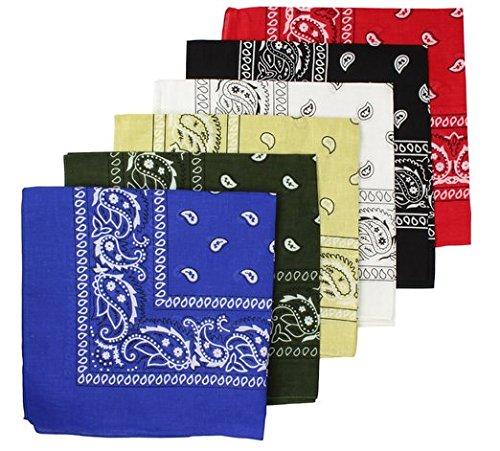 BOOLAVARD 100% algodón, 1, 6 o 12 pañuelos con diseño original de Paisley Elección del Headwear del abrigo de la bufanda/cabeza de la cinta del cuello de la cabeza del pelo del abrigo (6 orden mezcl