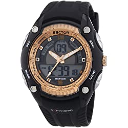 Sector Men's Digital Watch with LCD Dial Digital Display and Black PU Strap R3251574001