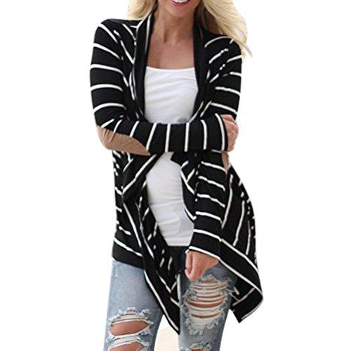 FEITONG Las mujeres de manga larga Casual Rebecas rayadas remiendo de abrigo (XL, Negro)