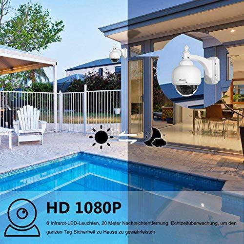 ÜberwachungsKamera Outdoor, IP Kamera 1080p, IP Kamera WLAN für Außeneinsatz P/T 5 X Zoom Nachtsicht 20M Bewegungserkennung benachrichtigen per Mail Fernzugriff über PC/Smartphone/Tablette