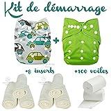 Kit de démarrage 2 Couches lavables + 8 inserts + un rouleau de 100 voiles de protection - Kit pilote...