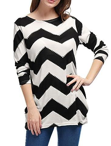 Allegra K Women's Round Neck Color Block Zig-Zag Knitted Shirt XL Black White