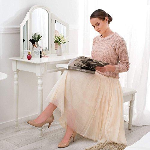 TecTake Schminktisch weiß mit Hocker und 3 Spiegeln aus Holz, geräumige Schublade zur Aufbewahrung von Kosmetik und Haarpflegeprodukten - 2