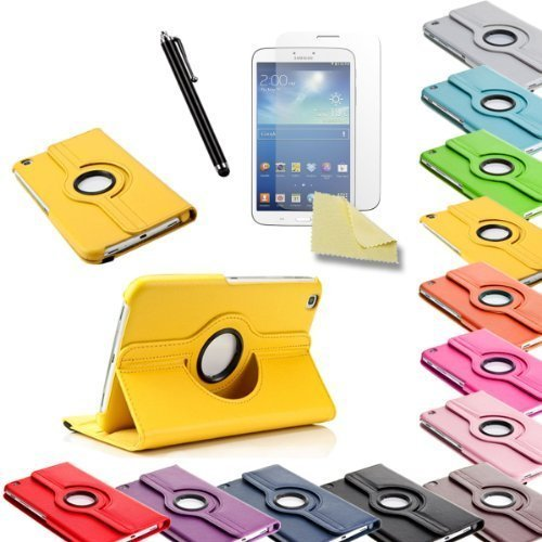 3in1 SET Tab3 8.0 360° Schutzhülle + Folie + Pen Samsung Galaxy Tab 3 8.0 SM-T310 T311 T315 Tasche Etui (Gelb)
