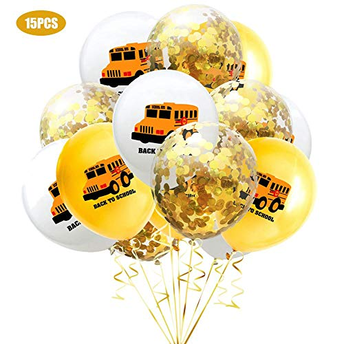 chenut Luftballons Aus Latex 15 Stück 12 Zoll Back to School Balloons Partei Dekorations Party Ballones Konfetti Luftballons Bunte Luftballons für Wand, Tür, Fenster