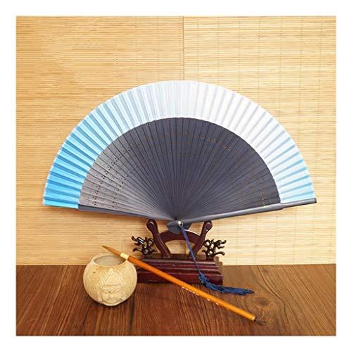 JUWOJIA Seda Ventilador Ventilador Plegable Japonesa Estilo Chino De Seda Blanco Hembra Danza Antigua Ventilador Ventilador Pequeño (20Cm) Azul