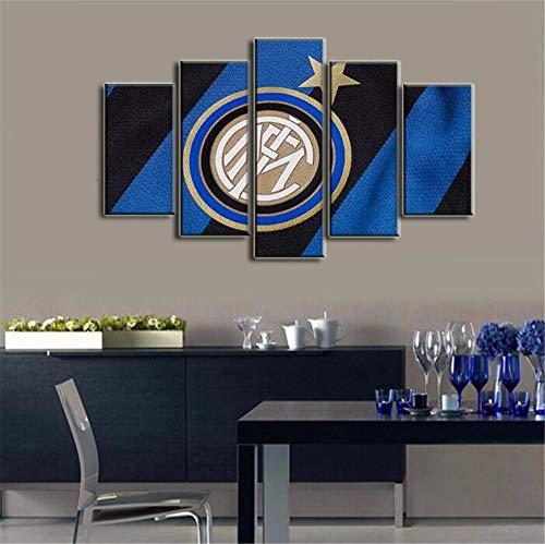 ZKPWLHS Leinwanddrucke 5 Stücke Football Club Internazionale Milano Decoracion Wandkunst Bilder Wohnzimmer Leinwand Malerei Mit Rahmen -