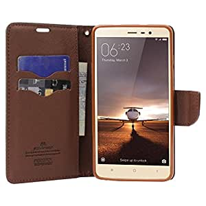 promo code 909d9 1c56d Online india XIAOMI red mi Note 3 FLIP Cover Imported Mercury goospery  Fancy Diary Wallet flip case Back Cover for xiaomi -Black/Brown